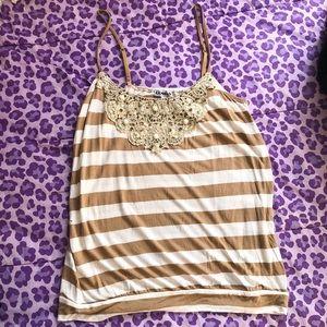 Strappy striped tank top with pretty embellishment